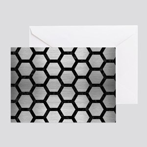 HEXAGON2 BLACK MARBLE & SILVER BRUSH Greeting Card