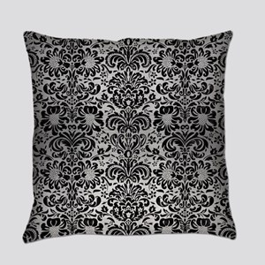 DAMASK2 BLACK MARBLE & SILVER BRUS Everyday Pillow