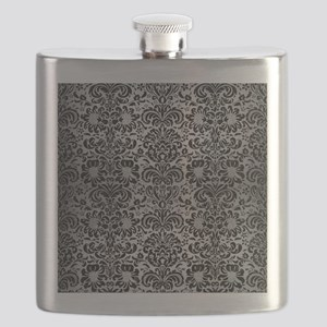 DAMASK2 BLACK MARBLE & SILVER BRUSHED METAL Flask