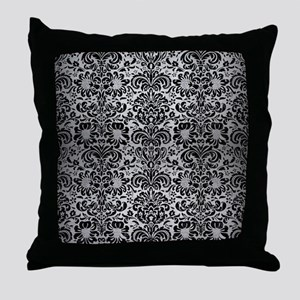 DAMASK2 BLACK MARBLE & SILVER BRUSHED Throw Pillow