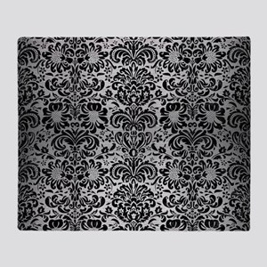 DAMASK2 BLACK MARBLE & SILVER BRUSHE Throw Blanket