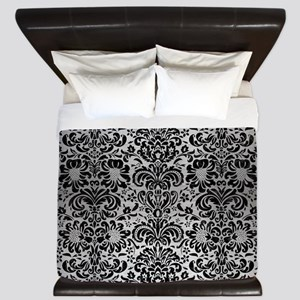 DAMASK2 BLACK MARBLE & SILVER BRUSHED M King Duvet