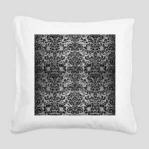 DAMASK2 BLACK MARBLE & SILVER Square Canvas Pillow