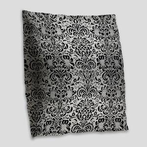 DAMASK2 BLACK MARBLE & SILVER Burlap Throw Pillow