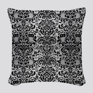 DAMASK2 BLACK MARBLE & SILVER Woven Throw Pillow