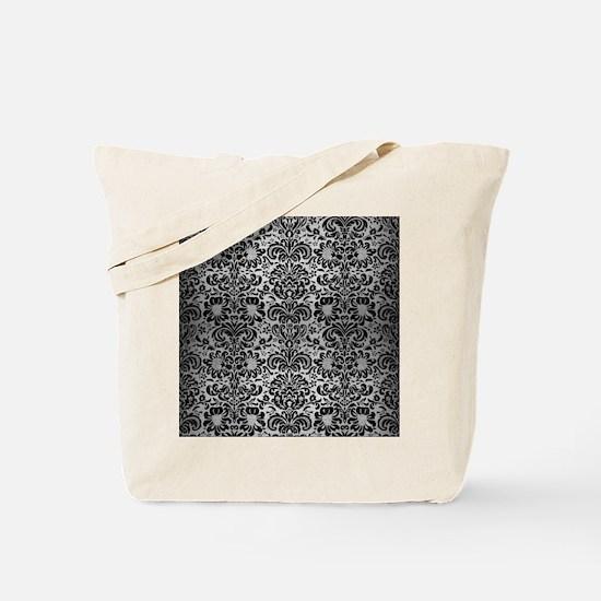DAMASK2 BLACK MARBLE & SILVER BRUSHED MET Tote Bag
