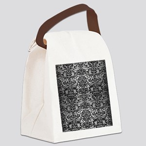 DAMASK2 BLACK MARBLE & SILVER BRU Canvas Lunch Bag