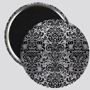 DAMASK2 BLACK MARBLE & SILVER BRUSHED METAL Magnet
