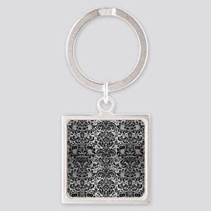 DAMASK2 BLACK MARBLE & SILVER BRUS Square Keychain