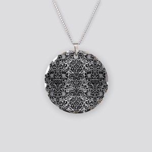 DAMASK2 BLACK MARBLE & SILVE Necklace Circle Charm