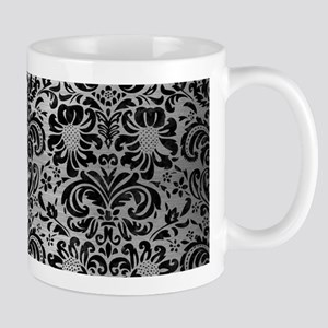 DAMASK2 BLACK MARBLE & SILVER BR 11 oz Ceramic Mug