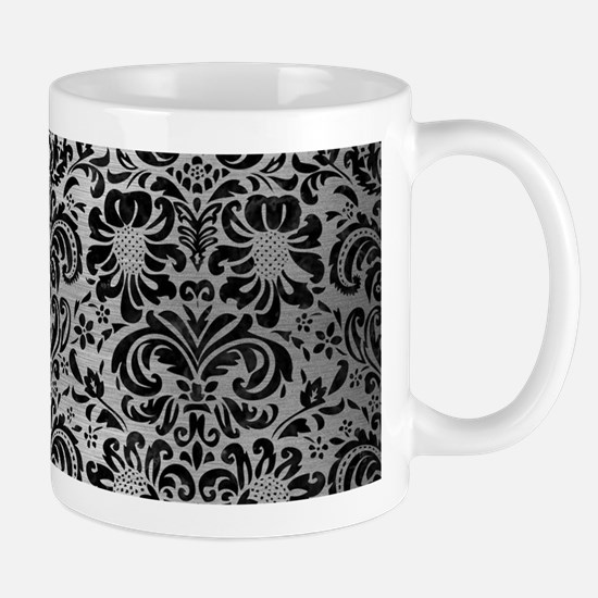 DAMASK2 BLACK MARBLE & SILVER BR Small Mug
