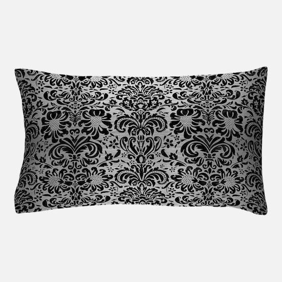 DAMASK2 BLACK MARBLE & SILVER BRUSHED Pillow Case