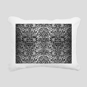 DAMASK2 BLACK MARBLE & S Rectangular Canvas Pillow