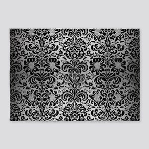 DAMASK2 BLACK MARBLE & SILVER BRUSH 5'x7'Area Rug
