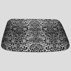 DAMASK2 BLACK MARBLE & SILVER BRUSHED META Bathmat
