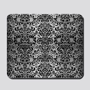 DAMASK2 BLACK MARBLE & SILVER BRUSHED ME Mousepad