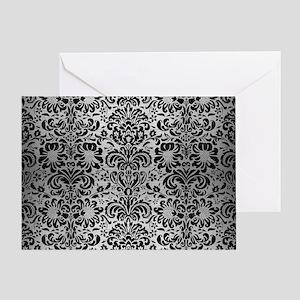 DAMASK2 BLACK MARBLE & SILVER BRUSHE Greeting Card