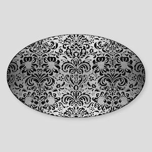DAMASK2 BLACK MARBLE & SILVER BRUSH Sticker (Oval)