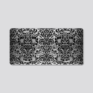 DAMASK2 BLACK MARBLE & SILV Aluminum License Plate