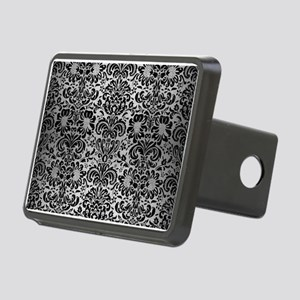 DAMASK2 BLACK MARBLE & SIL Rectangular Hitch Cover