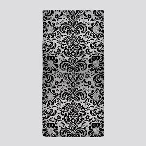 DAMASK2 BLACK MARBLE & SILVER BRUSHED Beach Towel