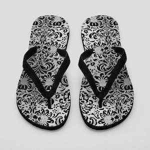 DAMASK2 BLACK MARBLE & SILVER BRUSHED M Flip Flops