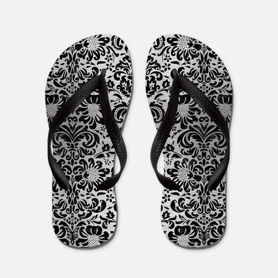 DAMASK2 BLACK MARBLE & SILVER BRUSHED M Flip Flops
