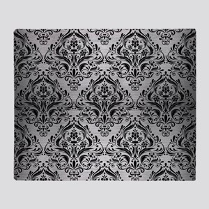 DAMASK1 BLACK MARBLE & SILVER BRUSHE Throw Blanket