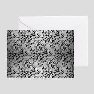 DAMASK1 BLACK MARBLE & SILVER BRUSHE Greeting Card