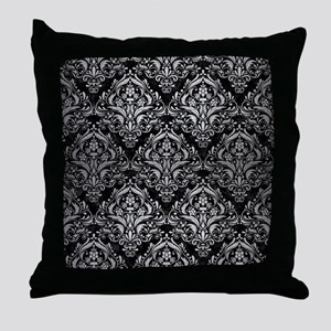 DAMASK1 BLACK MARBLE & SILVER BRUSHED Throw Pillow
