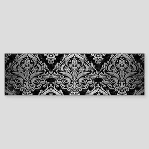 DAMASK1 BLACK MARBLE & SILVER BRU Sticker (Bumper)