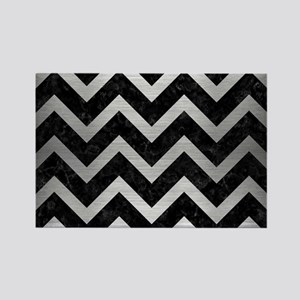 CHEVRON9 BLACK MARBLE & SILVER BR Rectangle Magnet
