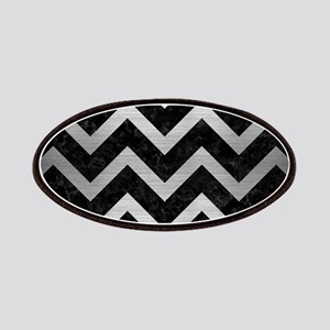 CHEVRON9 BLACK MARBLE & SILVER BRUSHED METAL Patch