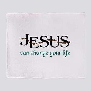 Jesus Can Change Life Throw Blanket