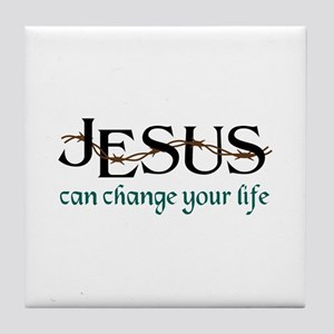 Jesus Can Change Life Tile Coaster