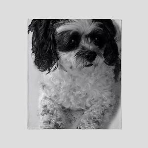 Black Gray White Shih Tzu Poodle Mix Throw Blanket