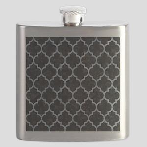 TILE1 BLACK MARBLE & SILVER PAINT (R) Flask