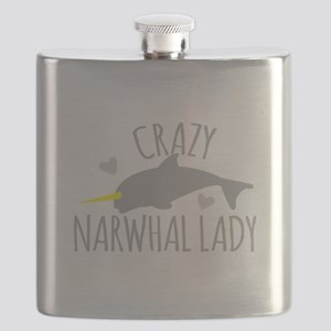 Crazy NARWHAL Lady Flask