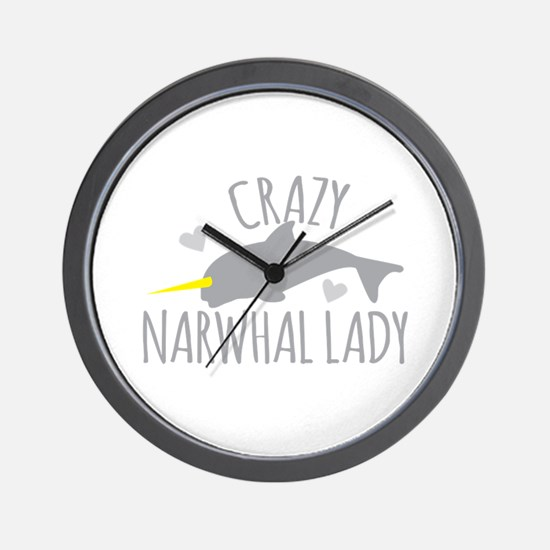 Crazy NARWHAL Lady Wall Clock