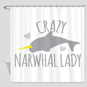 Crazy NARWHAL Lady Shower Curtain