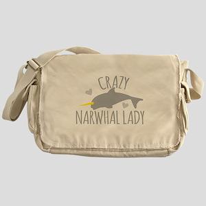 Crazy NARWHAL Lady Messenger Bag