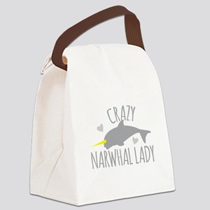 Crazy NARWHAL Lady Canvas Lunch Bag