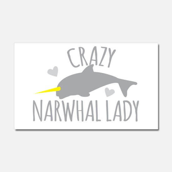 Crazy NARWHAL Lady Car Magnet 20 x 12