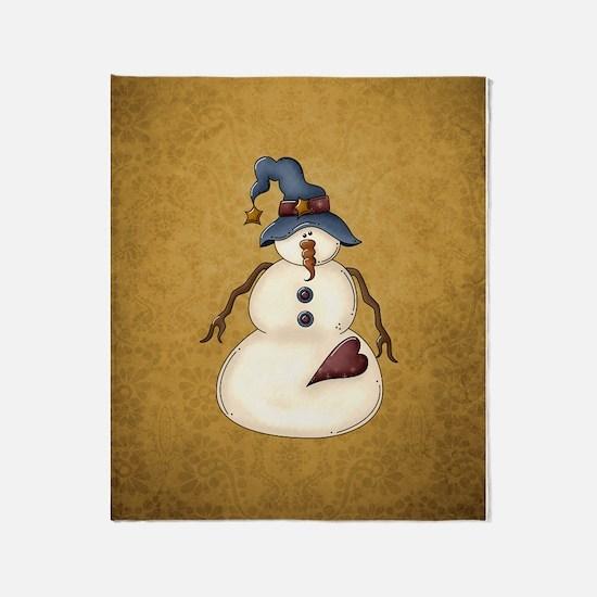 PRIM SNOWMAN Throw Blanket