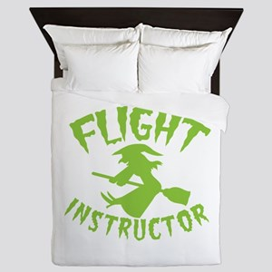 Flight instructor wickedy witch on a b Queen Duvet