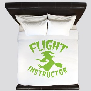 Flight instructor wickedy witch on a br King Duvet