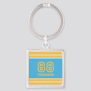 Yellow and Sky Blue Stripes Person Square Keychain