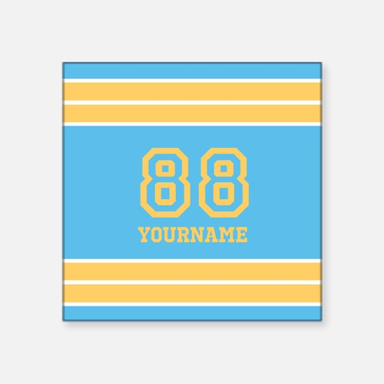 """Yellow and Sky Blue Stripes Square Sticker 3"""" x 3"""""""