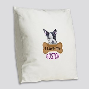 Love My Boston Burlap Throw Pillow